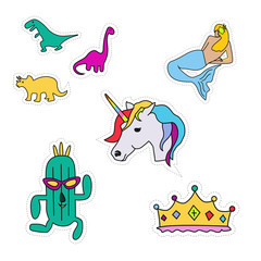A set cartoon patch badges.patches collection.vector illustration