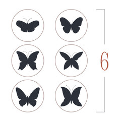 Set with different butterflies silhouettes isolated on white bac