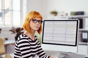 frau arbeitet an einer tabelle am computer