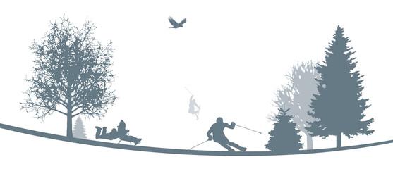 Winterliche Landschaft   Skifahren