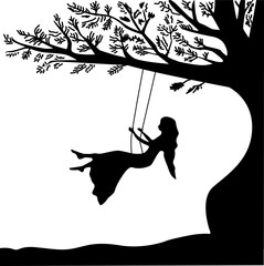Young girl sitting on the swing in summer garden, silhouette