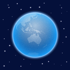 Vector stippled globe with atmosphere. Australia