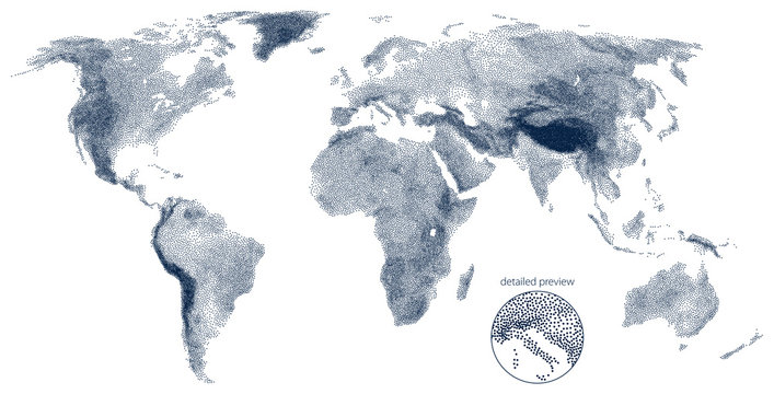 Stippled world relief vector map. Light edition