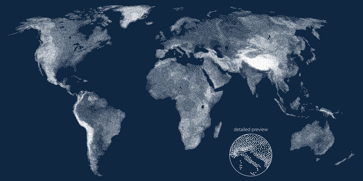 Stippled world relief vector map. Dark edition