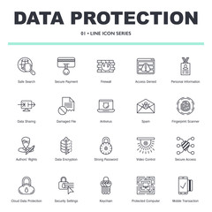 Vector data rpotection and internet security icons set