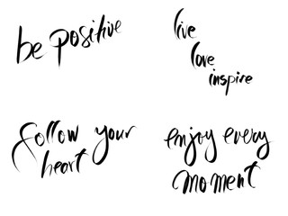 Photo collage with motivational messages isolated on white