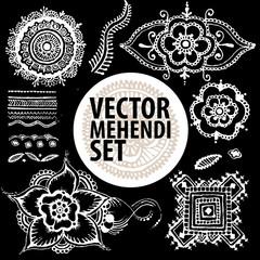 vector set : illustration mehendi, henna tattoo