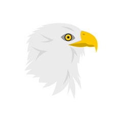 Bald eagle icon in flat style on a white background