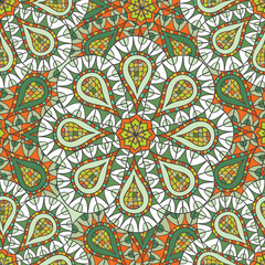 Acrylic Prints Moroccan Tiles Seamless pattern of hand-drawn and painted mandalas. Vector graphics.