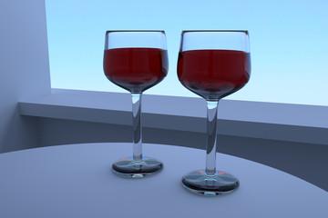 3D-Rendering von zwei Weingläsern auf einem weißen Tisch stehend mit hellblauem Hintergrund