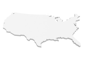 3d Illustration of USA Map Isolated On A White Background