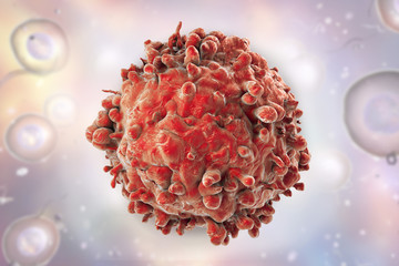 Leukaemia white blood cell on background with cells, 3D illustration