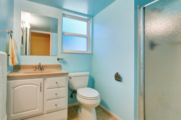 Interior of blue bathroom with white cabinet and granite top