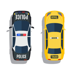 Police and taxi cars top view vector set.