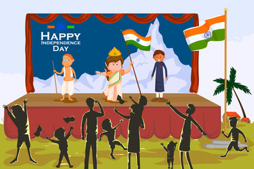 Indian people celebrating Happy Independence Day of India