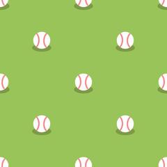 Baseball Seamless Pattern. Sport Background. Balls Isolated on Green Background.