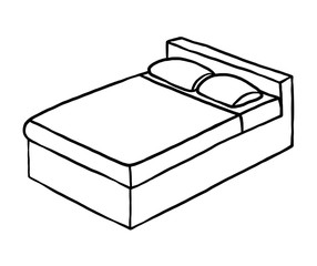double bed / cartoon vector and illustration, black and white, hand drawn, sketch style, isolated on white background.