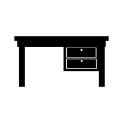 desk furniture office supplies icon vector graphic