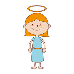 girl halo smiling icon vector graphic