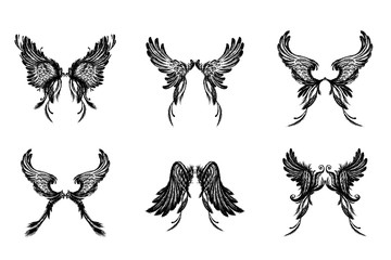Set of Wings , isolated on white background