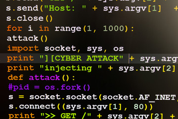 Graphic user interface with Cyber Attack message, concept of internet attack