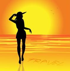 silohuette di giovane ragazza sulla spiaggia