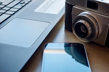 Camera, notebook, cellphone