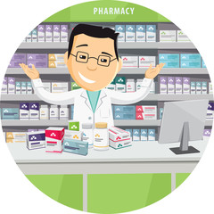 Pharmacist chemist man in pharmacy. Banner. Sale of vitamins and medications. Funny cartoon flat vector simple illustration.
