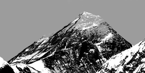 Abstract silhouette of Mount Everest from Gokyo valley