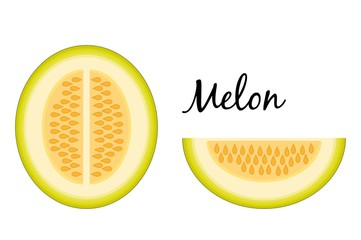 Slice and a half melon isolated on white background