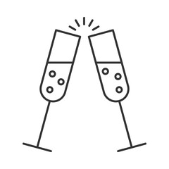 Glass of champagne with bubbles. Alcohol drink icon. Symbol of celebration, party or holiday. Thin line style. Flat vector illustration isolated on white background
