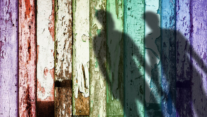Rainbow Color Weathered Wood, Shadow Shape of Gay