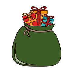 santa claus sack gift icon vector graphic