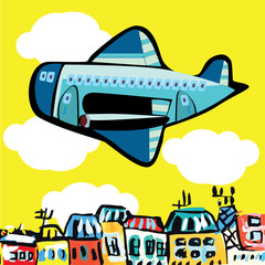 vector illustration of a cartoon airplane flying over the city