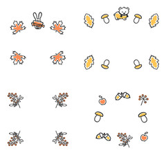 Set of autumn frames. Cute vector illustrations. Autumn leaves and animals with scarves. Doodle acorns and berries