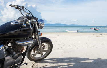 Freedom.Motorbike on the sand beach