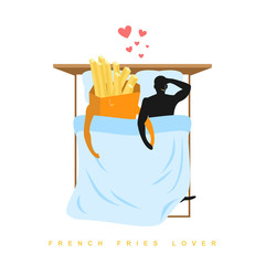 Lover french fries. I love food. Fastfood and man. Food lovers i
