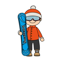 snowboard child kid boy sport winter vector graphic icon