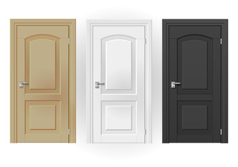 Three doors on white background of white, beige, black in a classic design. Vector graphics