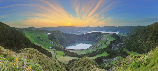 Mountain landscape with hiking trail and view of beautiful lakes, Ponta Delgada, Sao Miguel Island,...