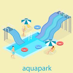 flat 3d isometric summer aquapark.