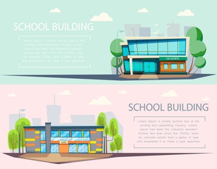 School building . Cartoon and flat style of architecher.