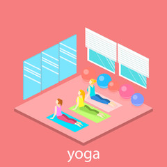 Isometric interior of yoga class. people do yoga