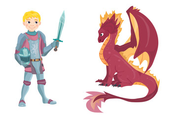 Cartoon knight with fierce dragon on white background