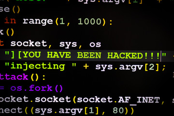 Graphic user interface with You've been hacked message, concept of internet attack