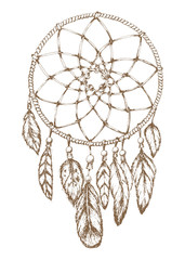 Dream catcher.Hand drawn style was made manually