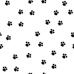 Black footprint on white background seamless pattern