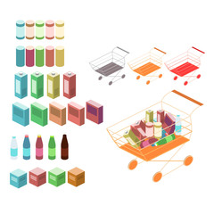 Isometric basket with food