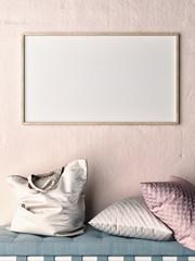 Mock up frame on rose wall,  sofa, pillows and bag, 3d illustration