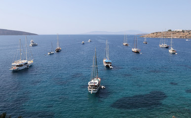 Sailboats in front of Bodrum Castle